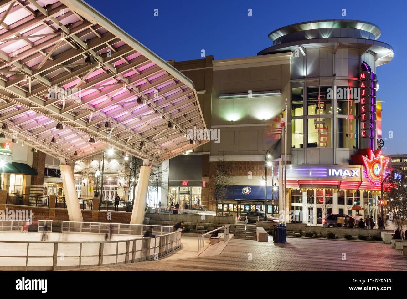 Outdoor ice skating rink and Majestic Theater, Silver Spring, Maryland. Stock Photo
