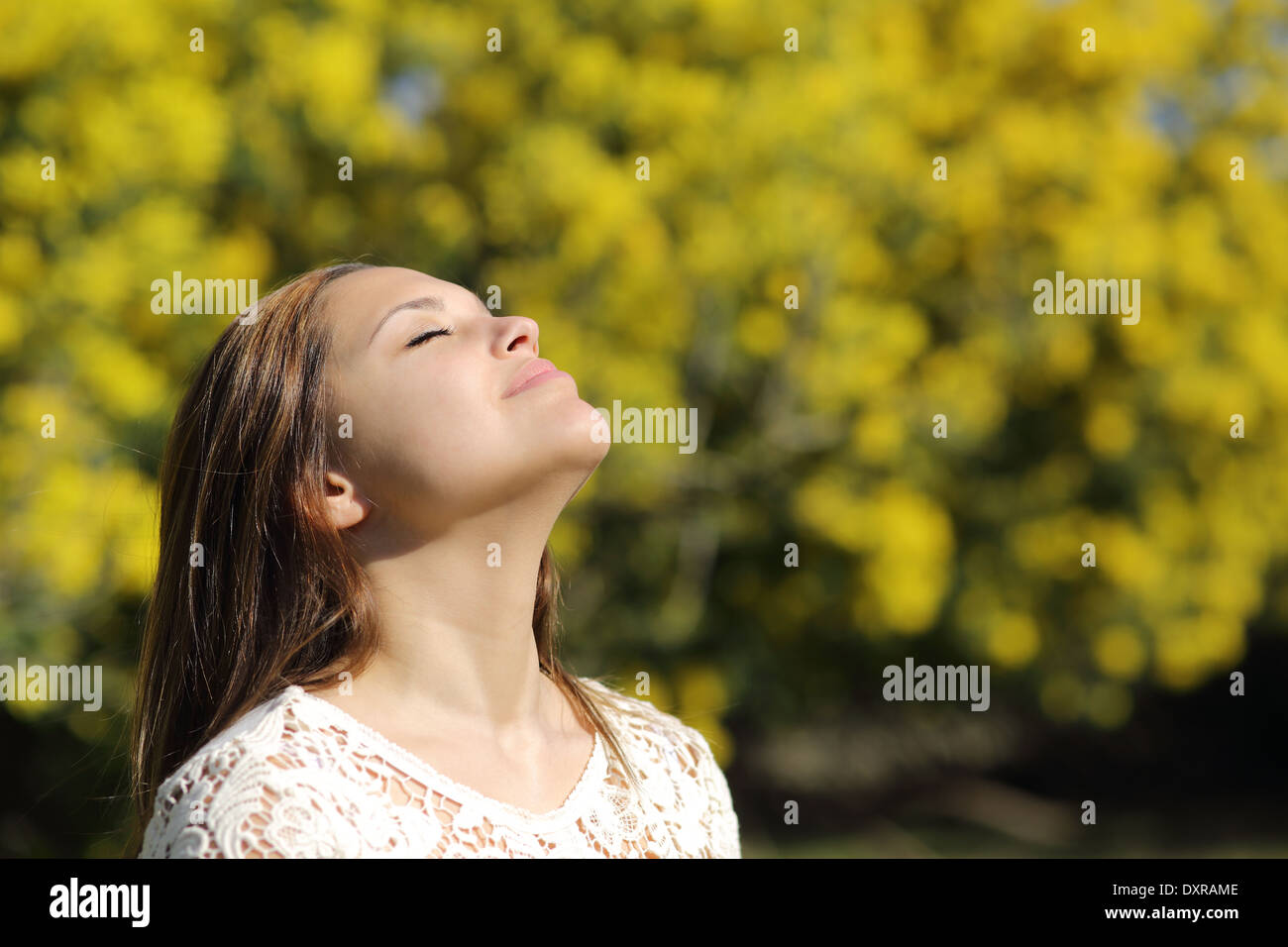 Woman breathing deep in spring or summer with a yellow background - Stock Image