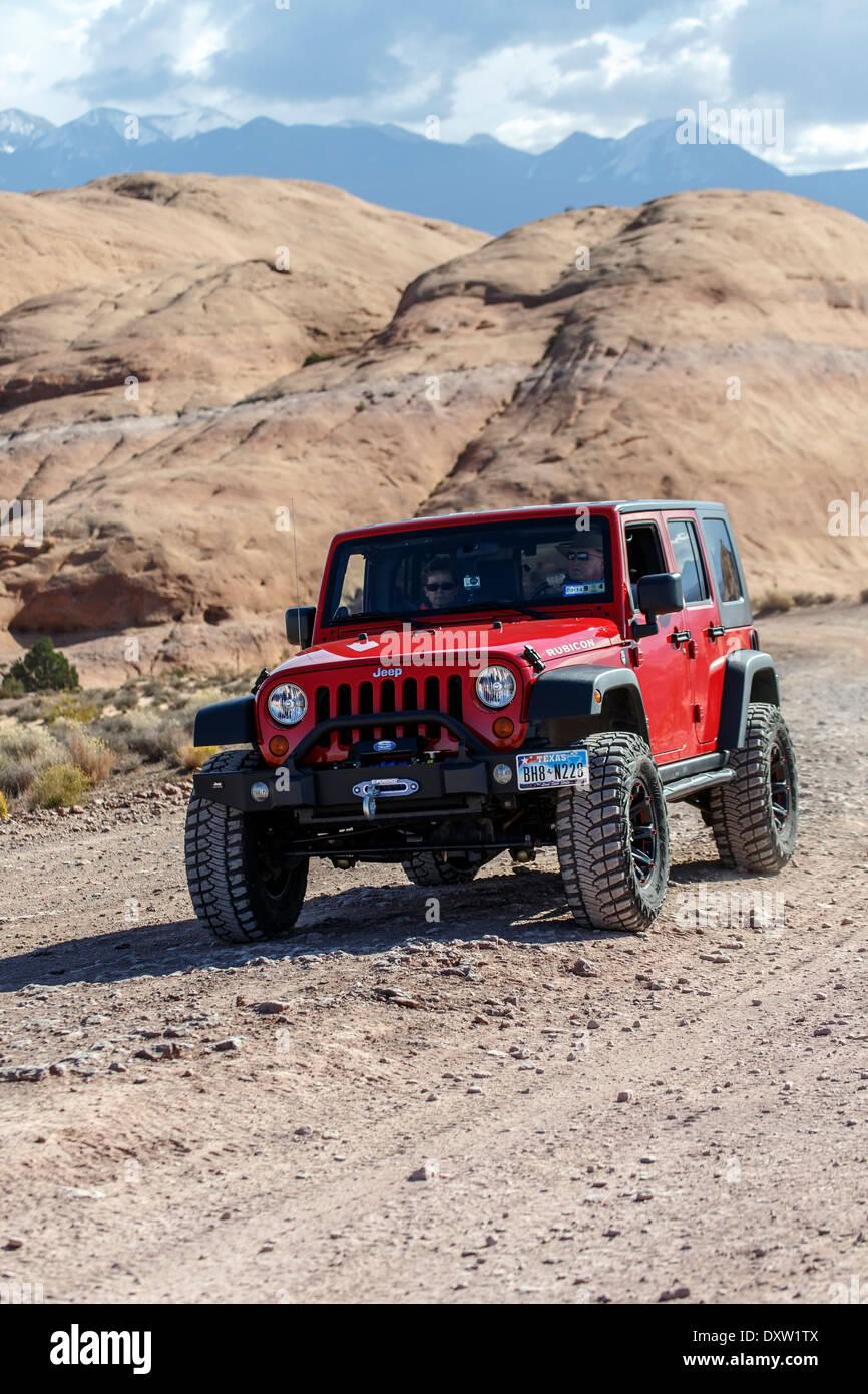 Jeep, Hell's Revenge Trail, Sand Flats Recreation Area, Moab, Utah USA - Stock Image