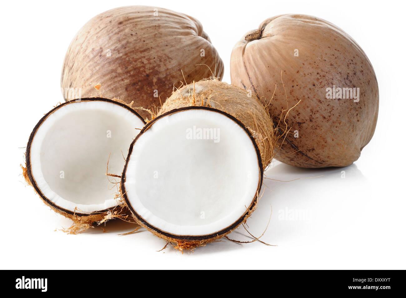 coconut on white background - Stock Image