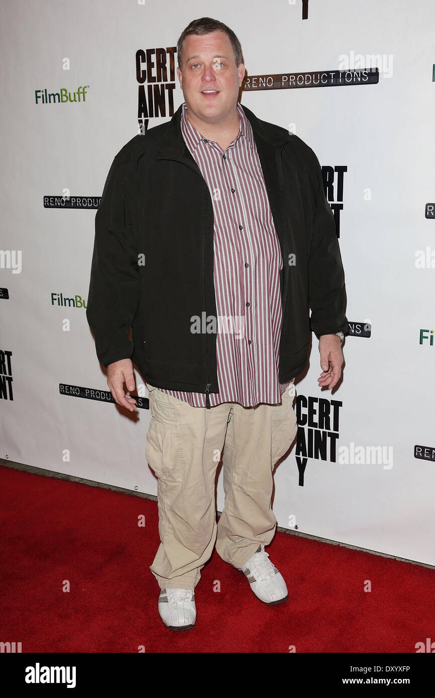 The Los Angeles premiere of 'Certainty' at Laemmle Music Hall - Arrivals Featuring: Billy Gardell Where: - Stock Image