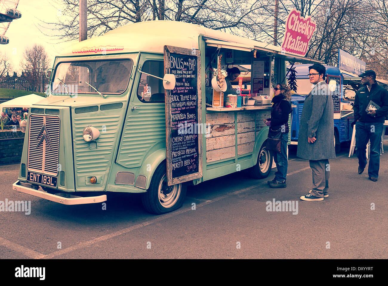 Citroen H Van food truck at Classic car boot sale London UK - Stock Image