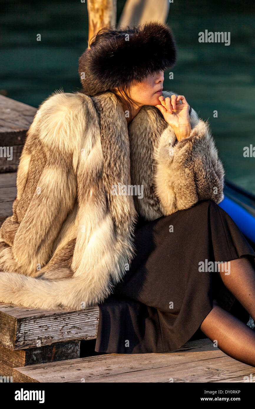 Wealthy Tourist, St Mark's Square, Venice, Italy - Stock Image