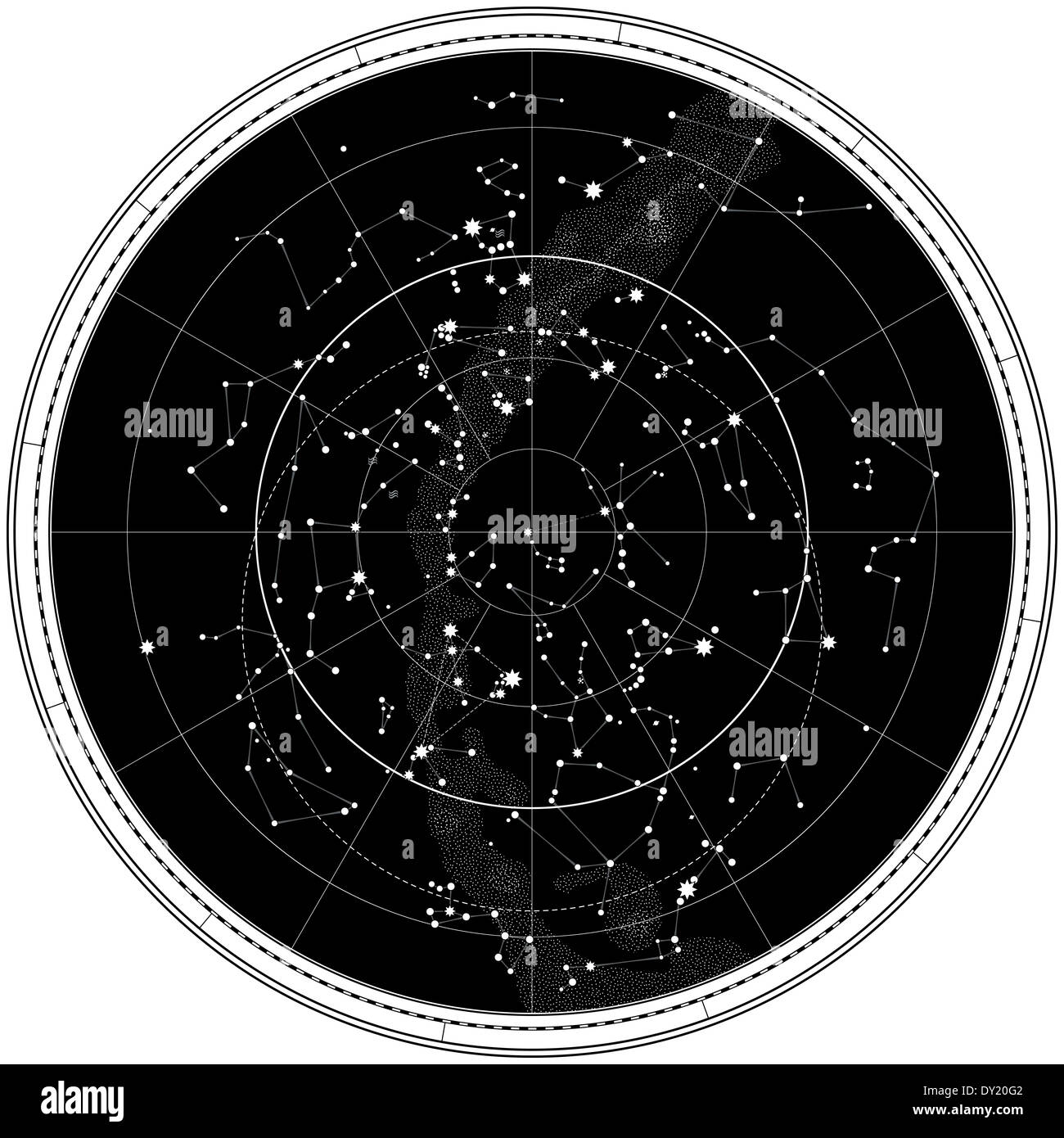 Celestial Map Of The Night Sky Astronomical Chart Of Northern Stock - Night sky map northern hemisphere
