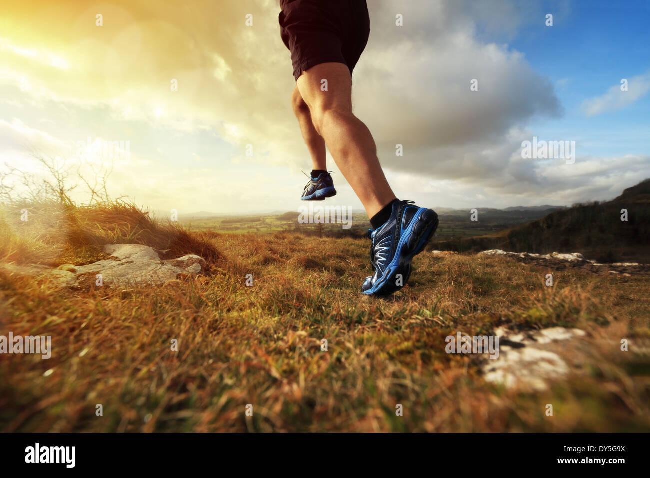 Healthy trail run - Stock Image