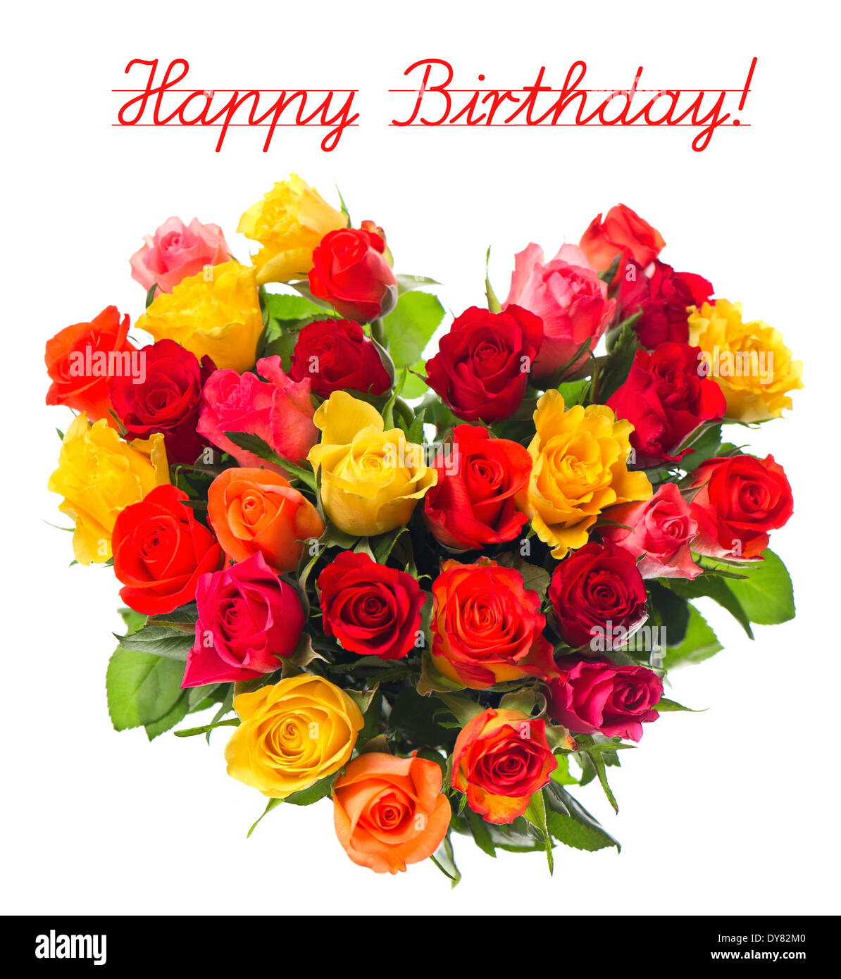 Happy Birthday Card Concept Bouquet Of Colorful Assorted Roses In