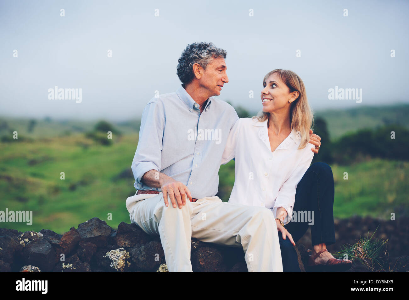 Happy loving middle aged couple - Stock Image