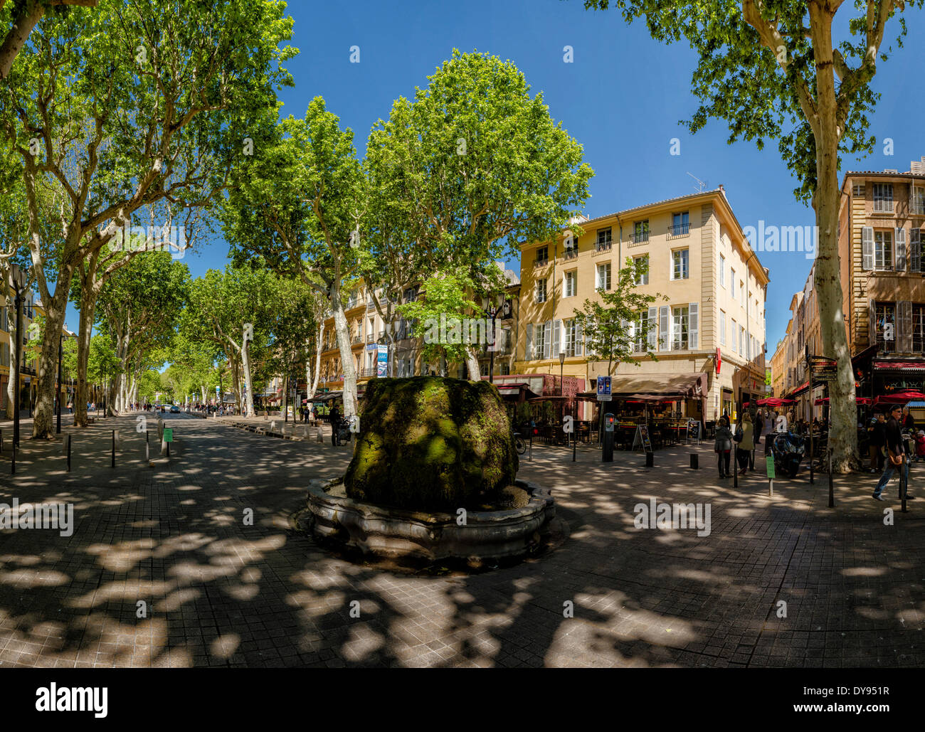 Cours Mirabeau, town, village, forest, wood, trees, spring, Aix en Provence, Bouches du Rhone, France, Europe, - Stock Image