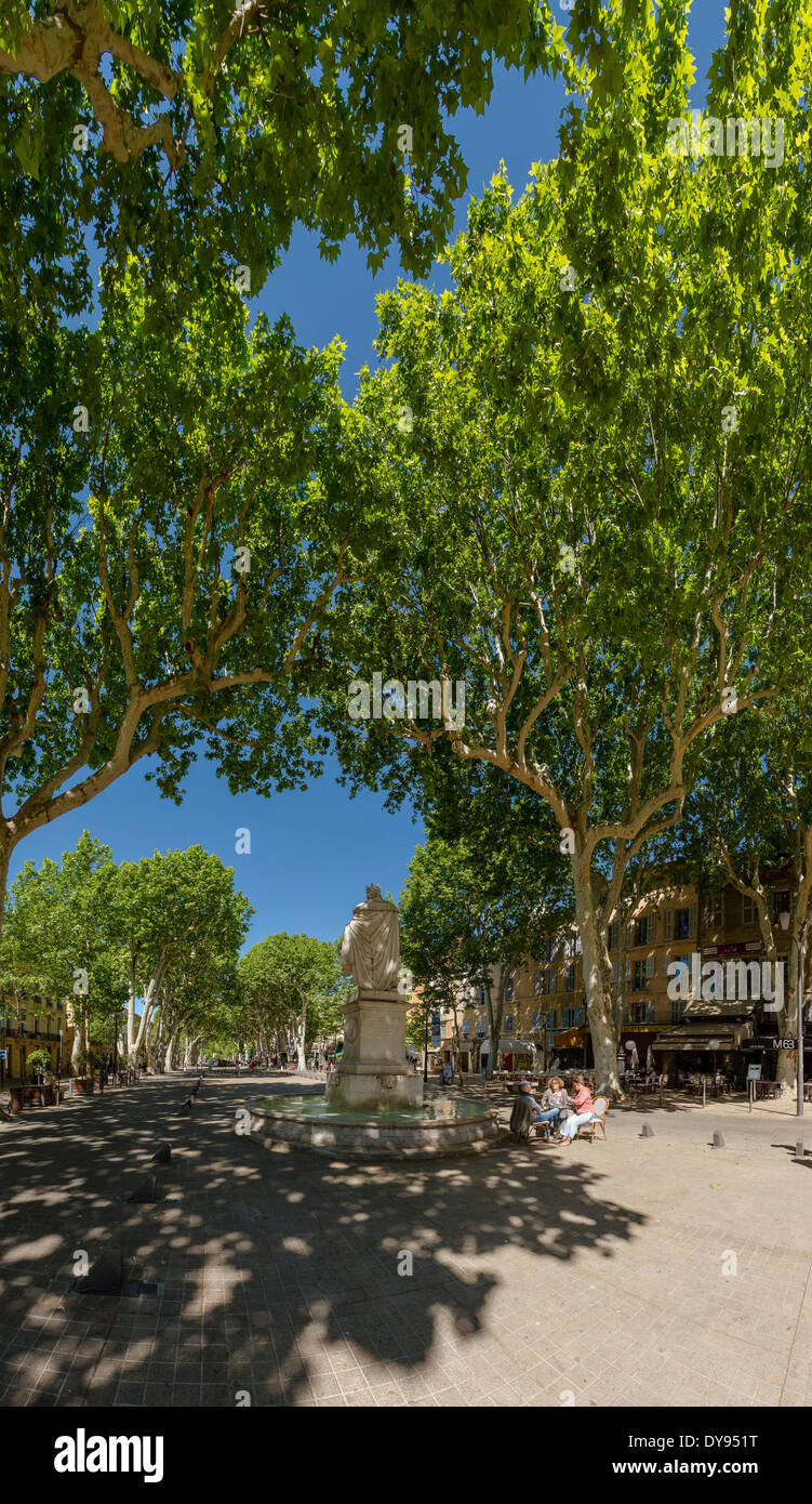 Cours Mirabeau, town, village, forest, wood, trees, spring, people, Aix en Provence, Bouches du Rhone, France, Europe, - Stock Image