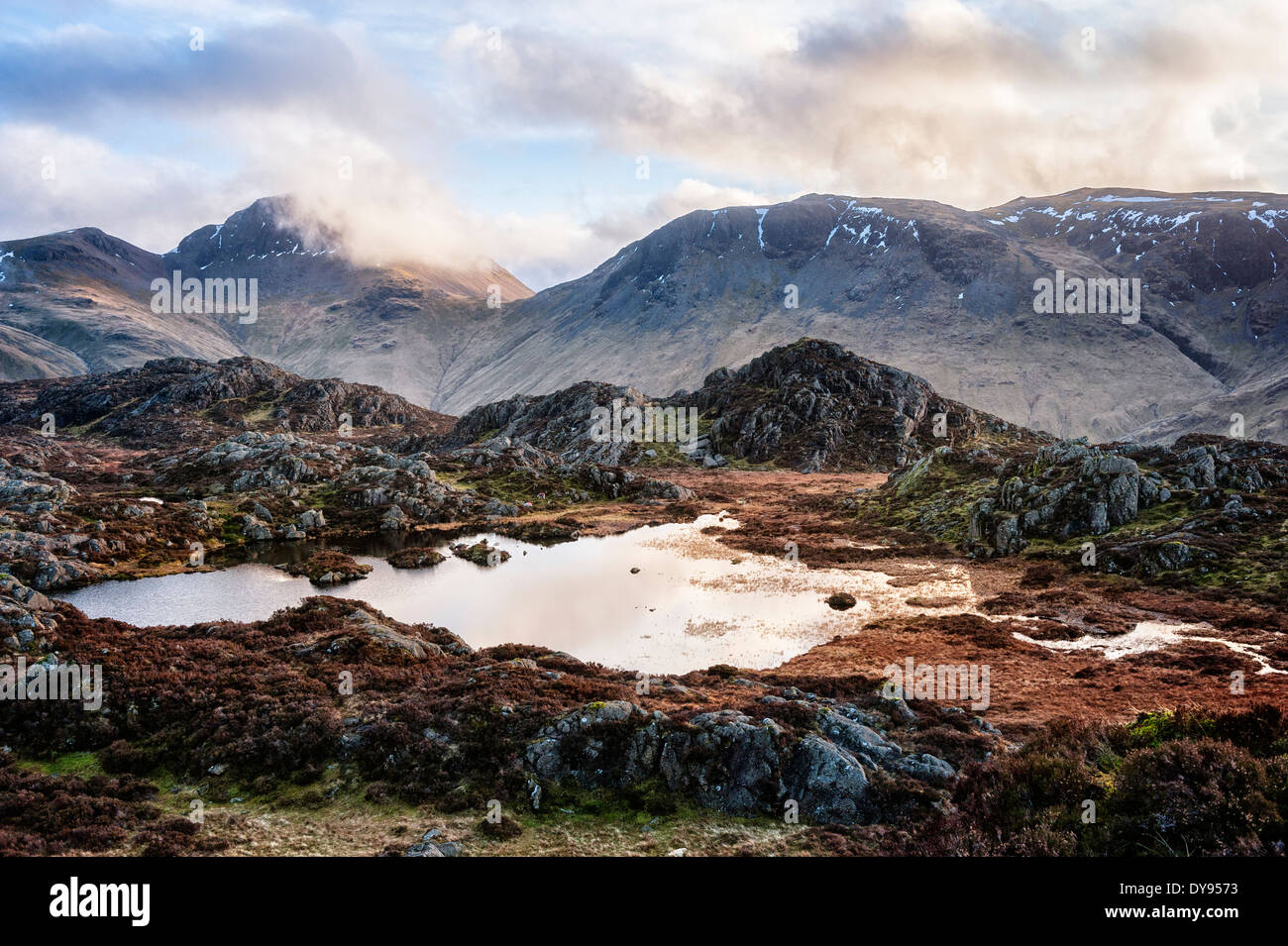 Innominate Tarn at dusk - Stock Image