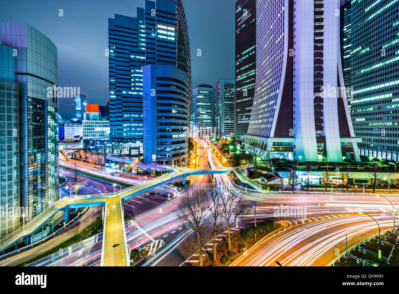 Tokyo, Japan office buildings in Shinjuku. - Stock Image