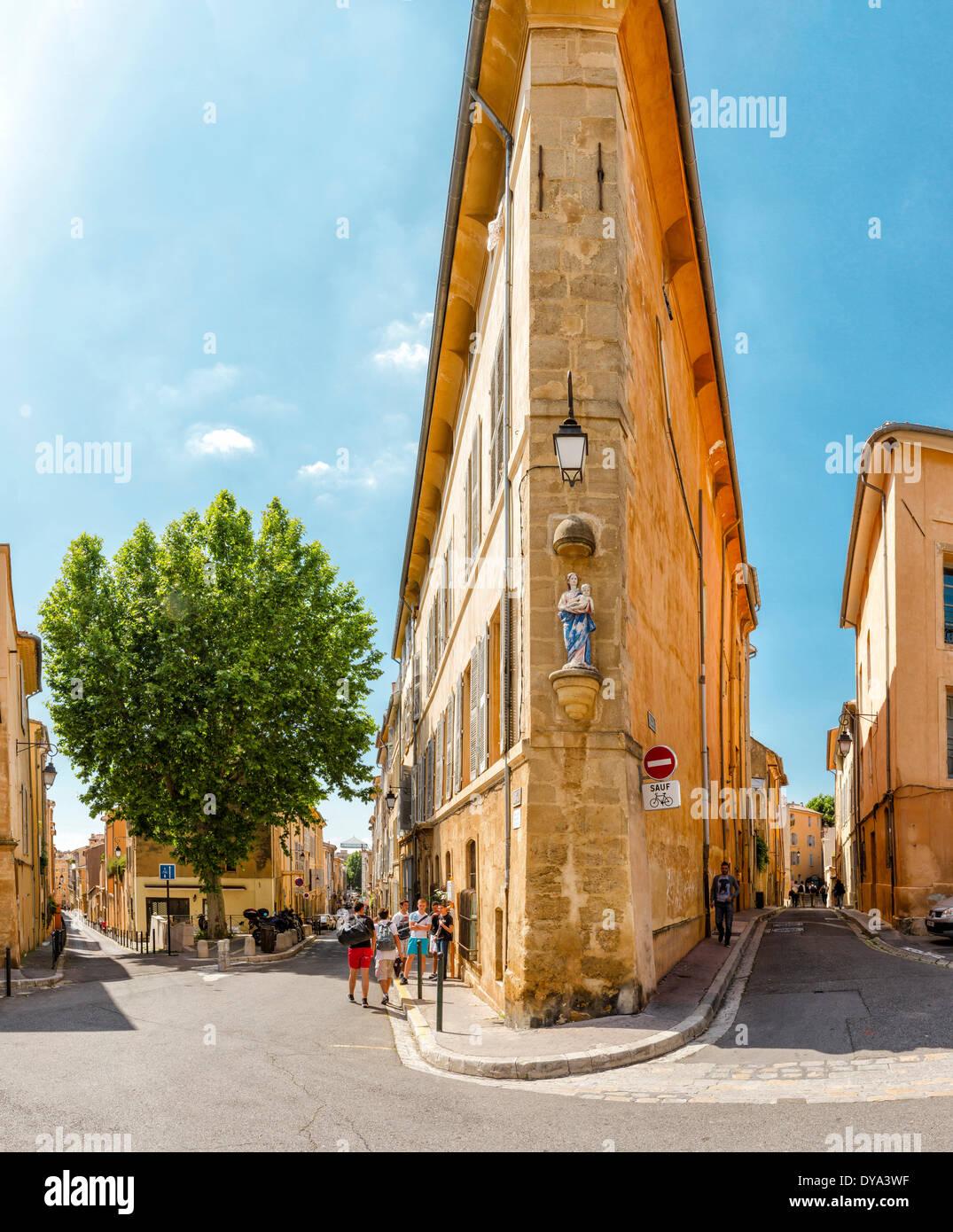 Place Miollis, town, village, summer, people, Aix en Provence, Bouches du Rhone, France, Europe, building, architecture - Stock Image