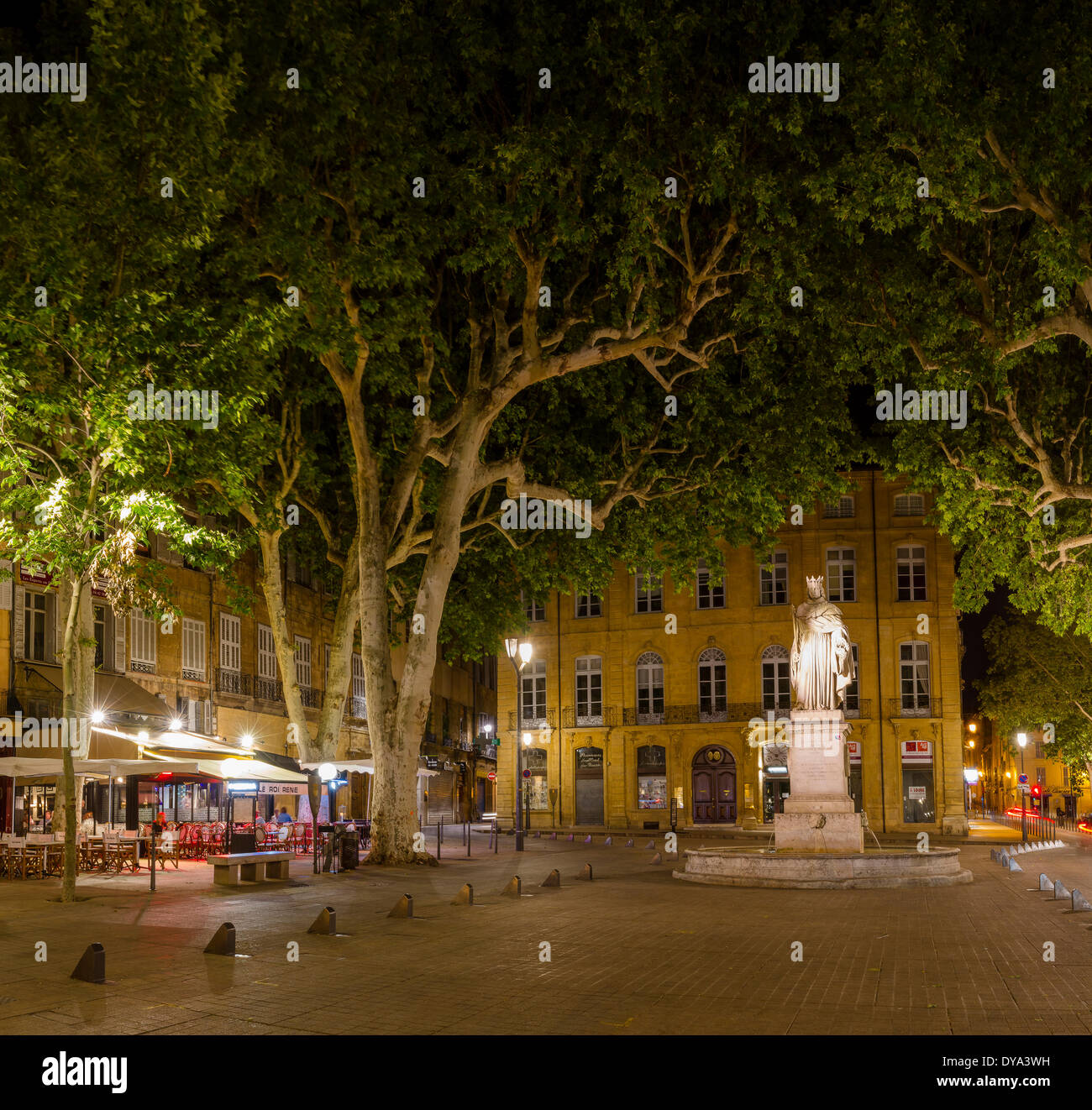Cours Mirabeau, town, village, forest, wood, trees, summer, night, evening, Aix en Provence, Bouches du Rhone, France, - Stock Image