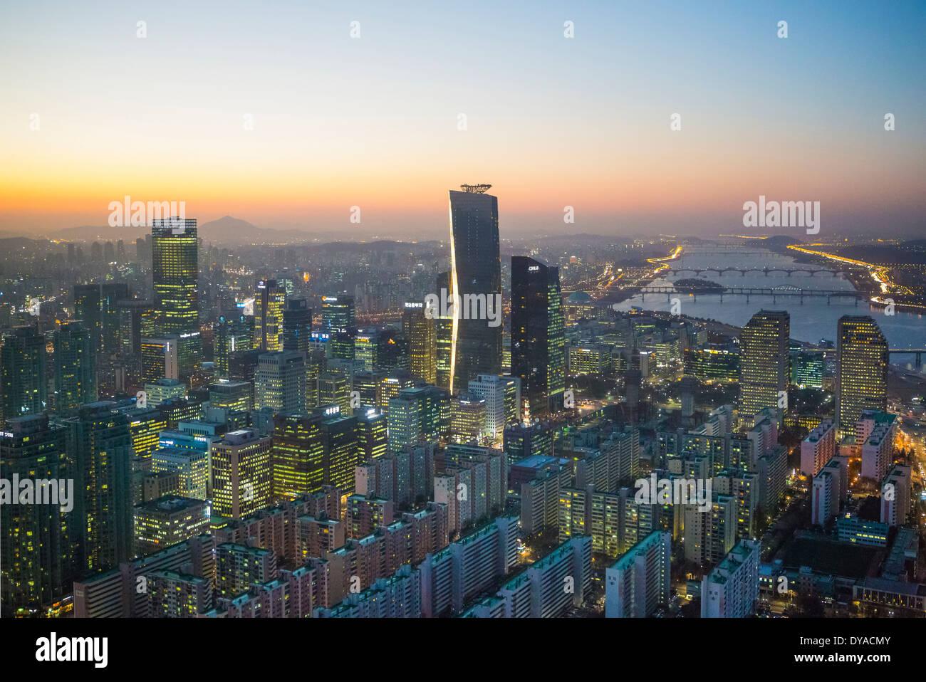 Korea Asia Seoul Yeouido aerial apartments architecture blocks center city colourful financial geometry international - Stock Image