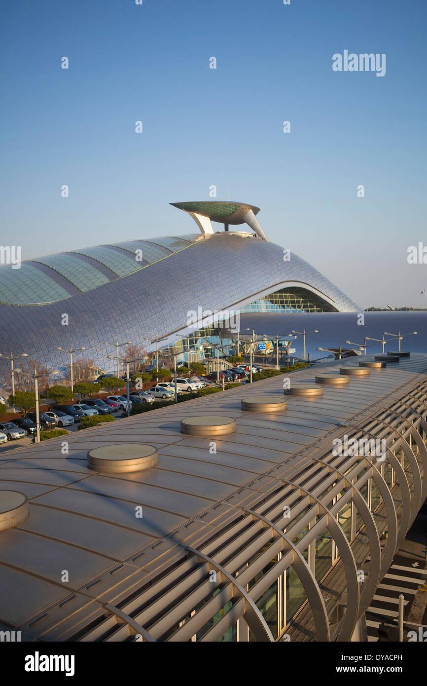 Incheon, Korea, Asia, Seoul, airport, architecture, city, design, international, new, roof, station, touristic, - Stock Image