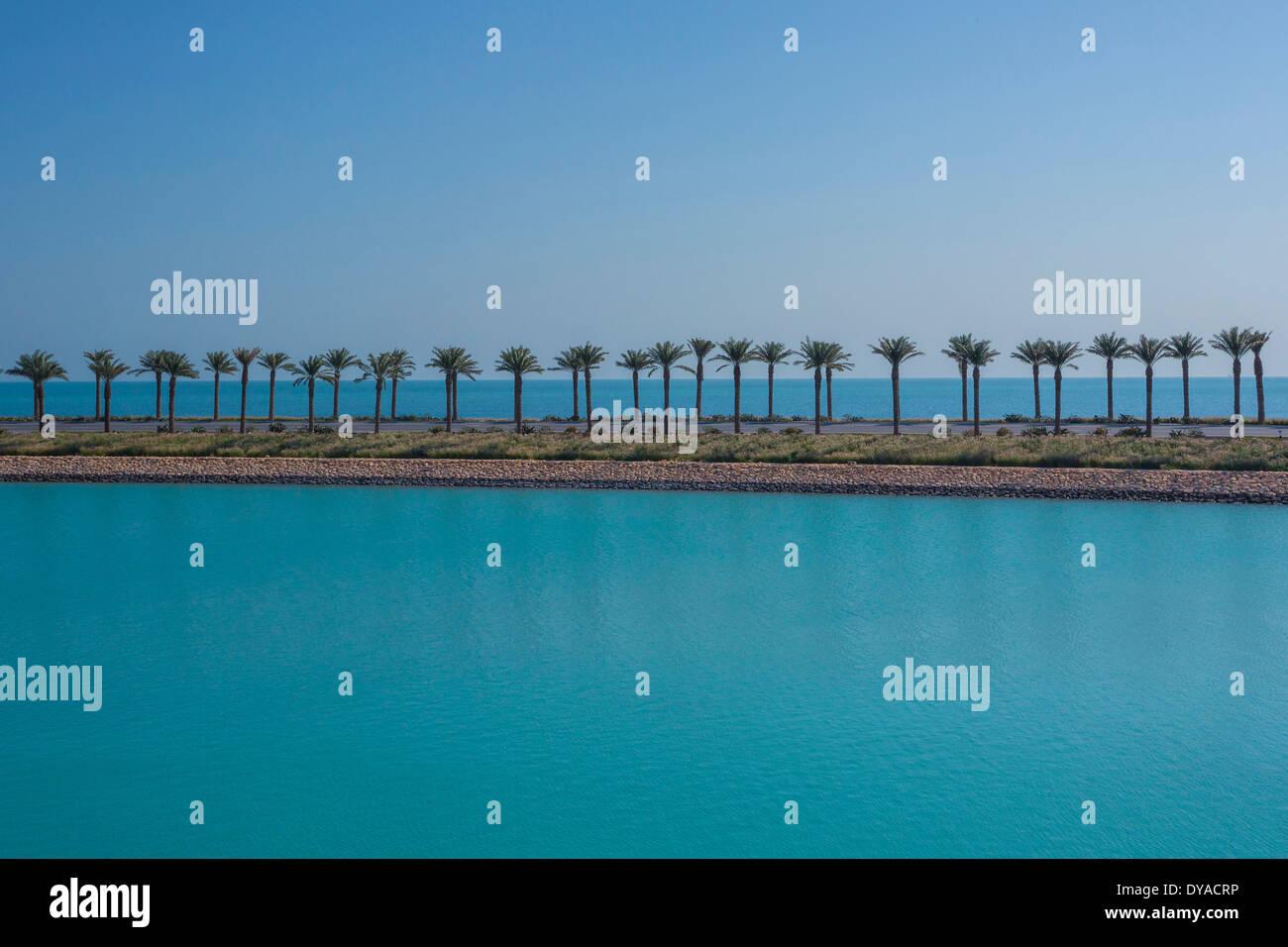 Doha, Qatar, Middle East, city, horizon, palm trees, road, sea, touristic, travel, highway - Stock Image