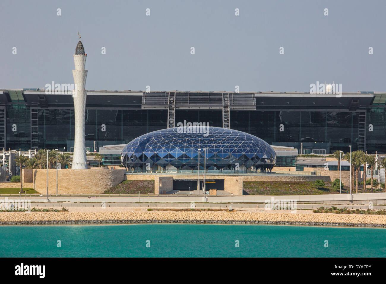 Doha, New Doha, Qatar, Middle East, airport, architecture, city, building, international, minaret, travel - Stock Image