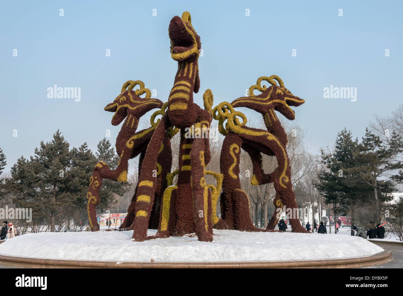 Mythical creatures snow sculpture, Harbin International Snow Sculpture Art Expo, China - Stock Image