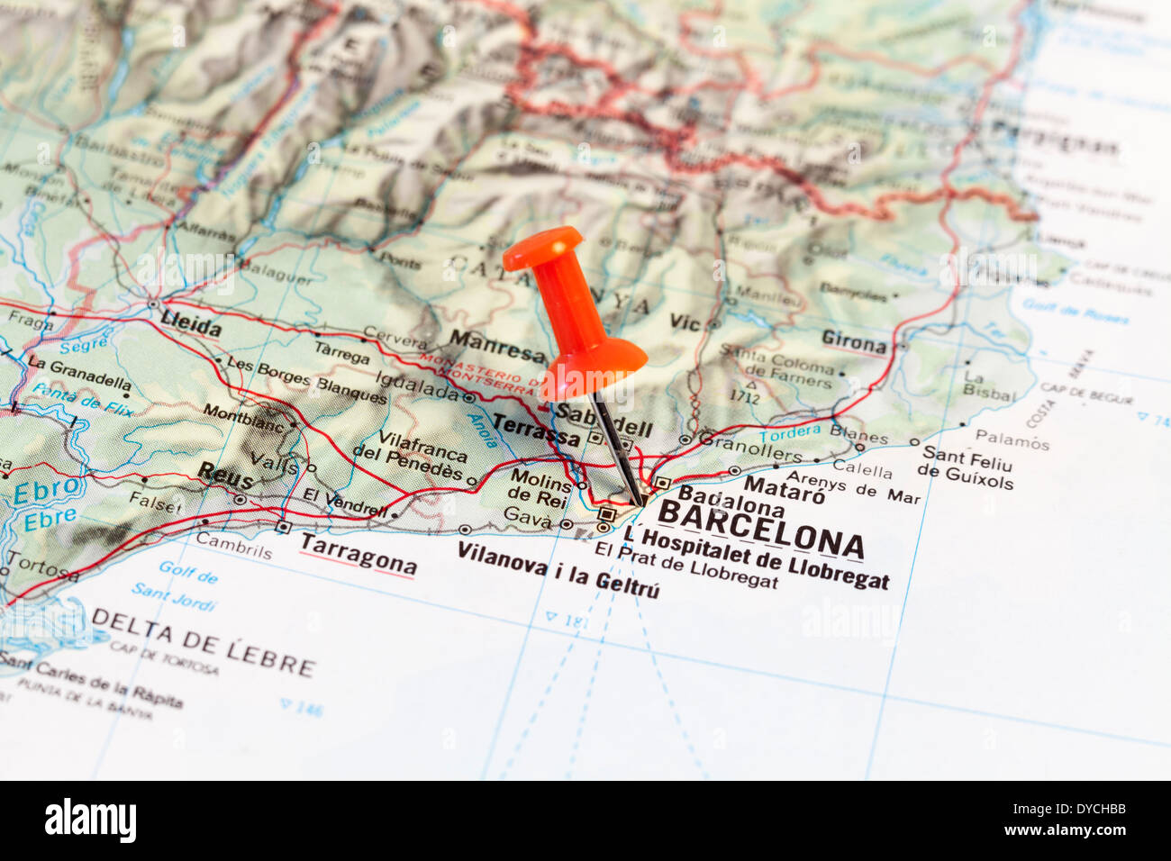 Red map pin pointing on map to the city of Barcelona Stock Photo