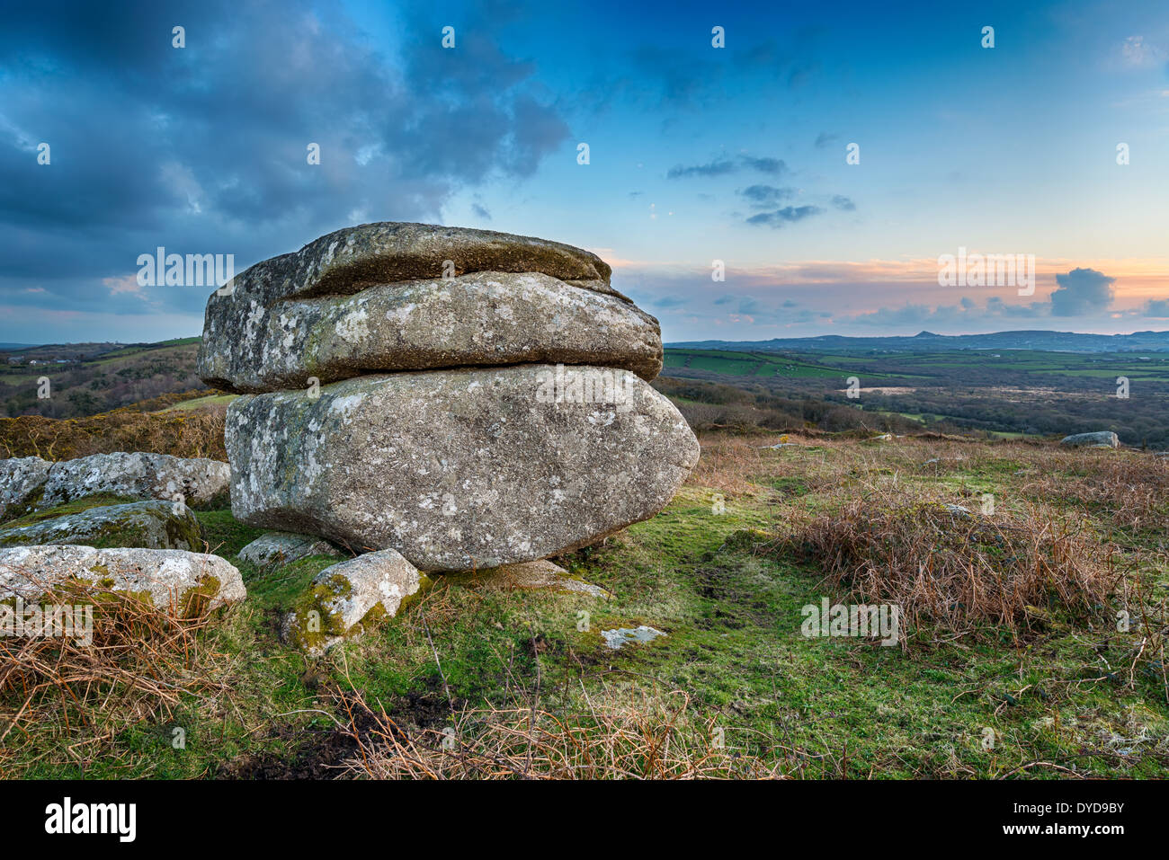 Weathered granite rock formation on Helman Tor a nature reserve on the Saints Way long distance footpath near Bodmin - Stock Image