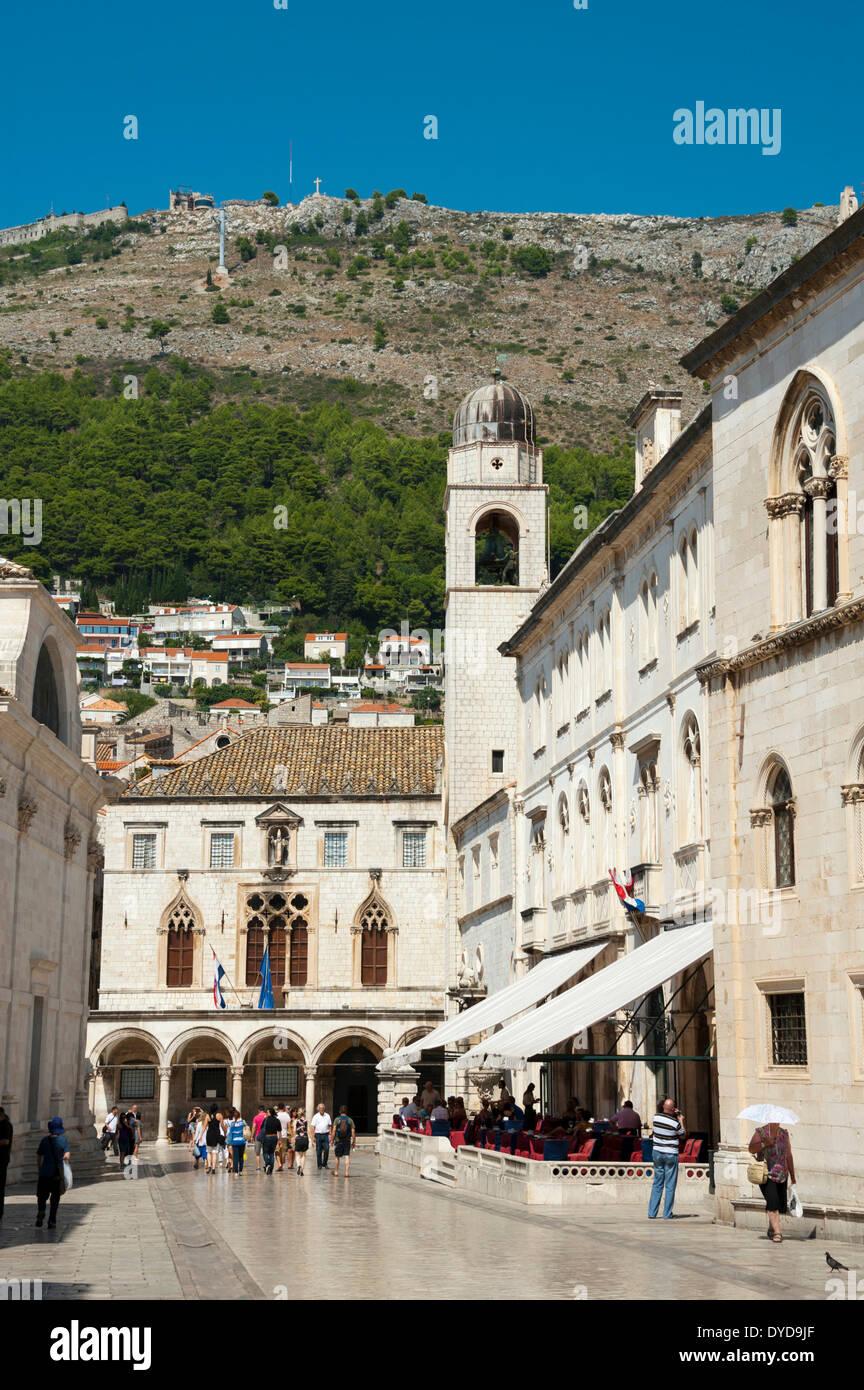 Clock Tower and Sponza Palace, historic town centre, Dubrovnik, Dalmatia, Croatia - Stock Image