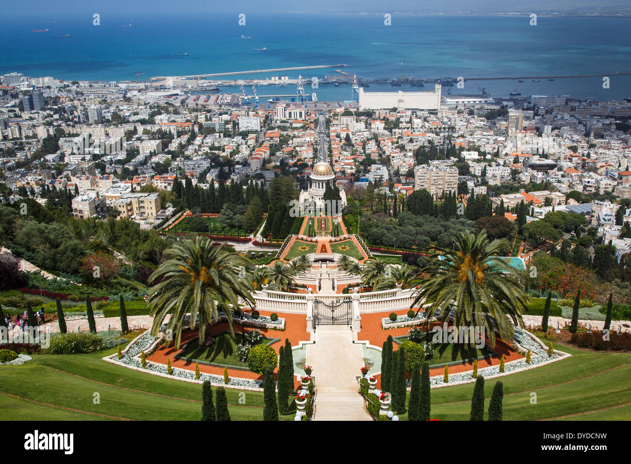 View over the Bahai Gardens, Haifa, Israel. - Stock Image