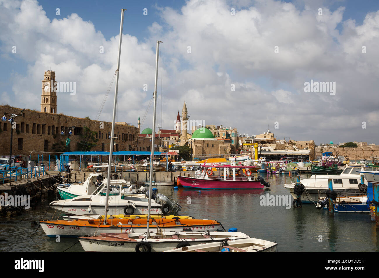 The port at the old city of Akko (Acre), Israel. - Stock Image