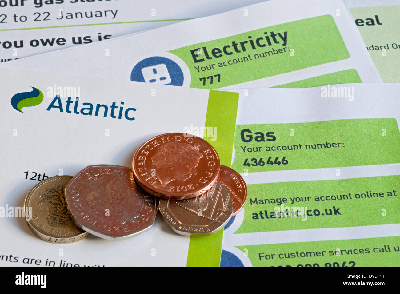 Atlantic Gas and Electricity fuel bills. Stock Photo