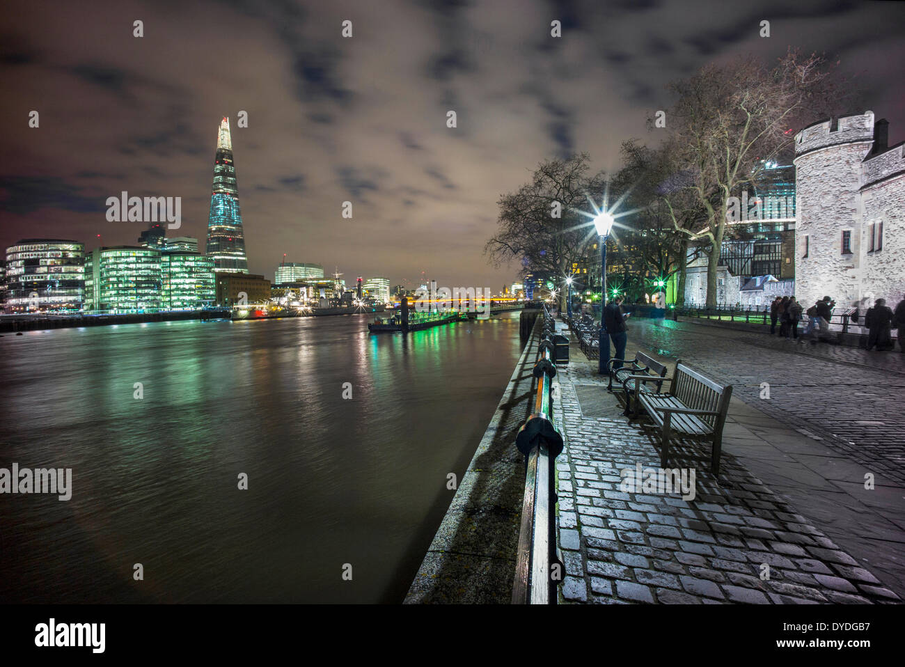 The Tower of London with The Shard and The River Thames at dusk. - Stock Image
