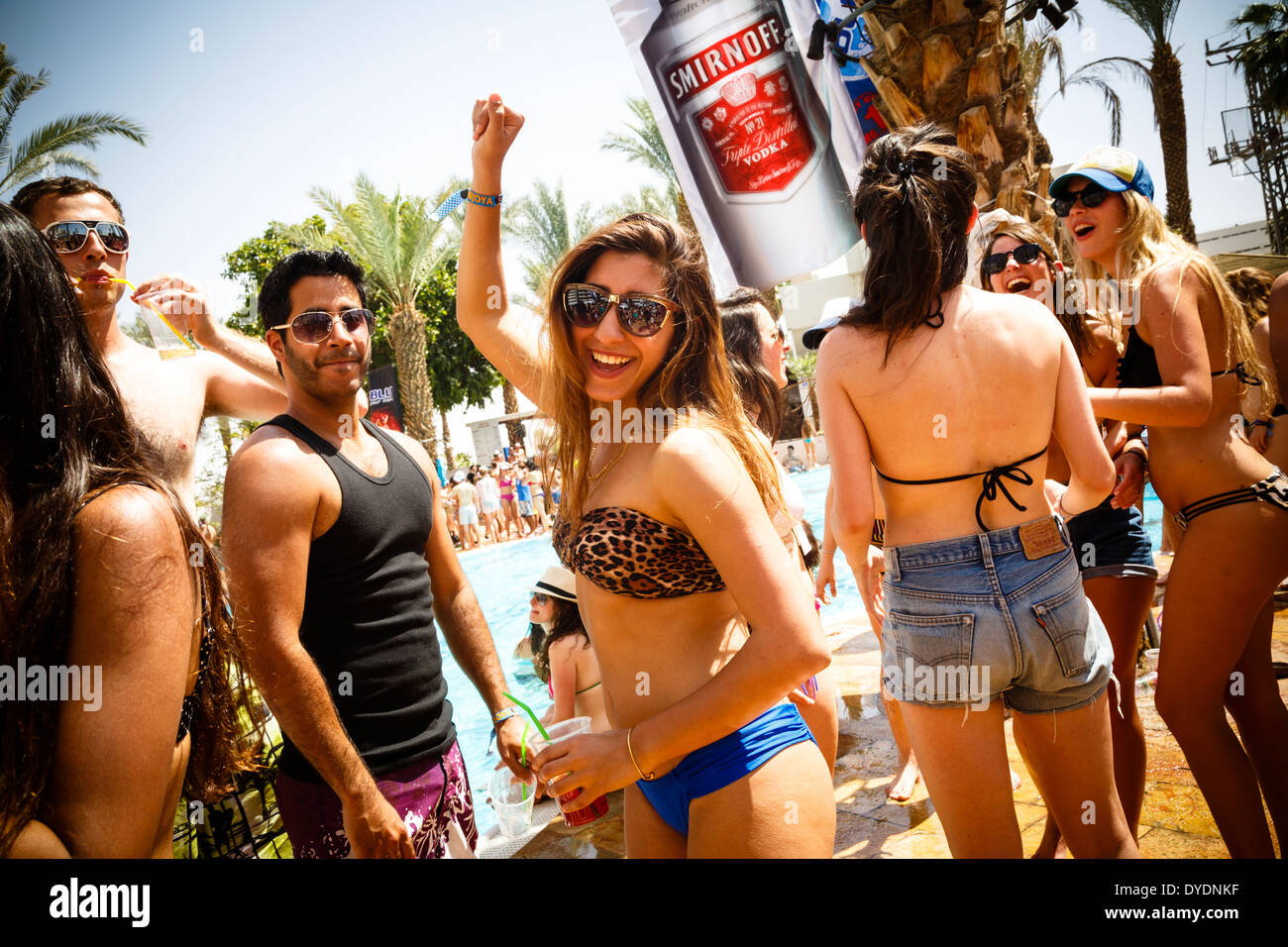 Students party in Eilat, Israel. - Stock Image