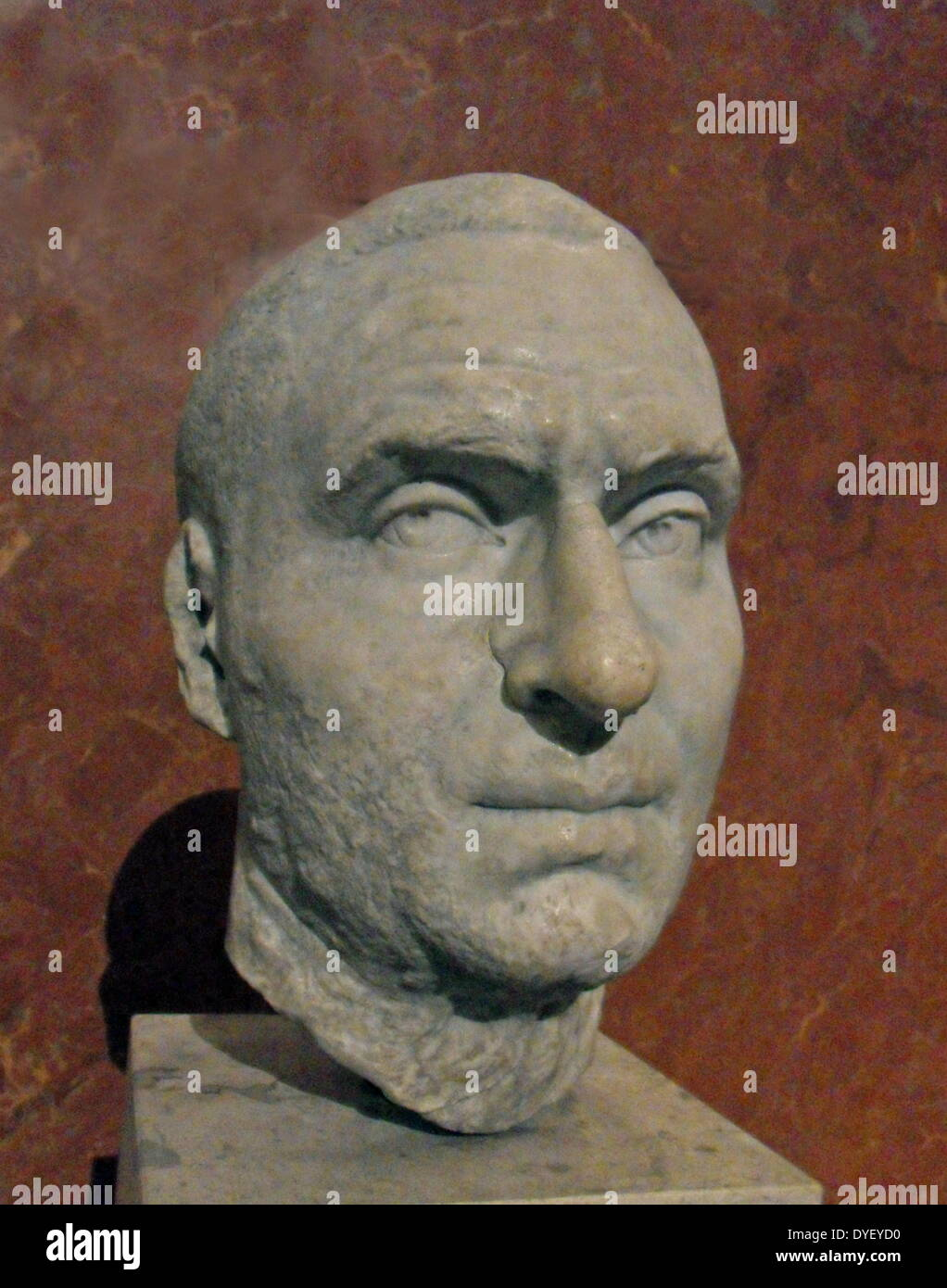 Marble sculpture of unknown man's head. - Stock Image