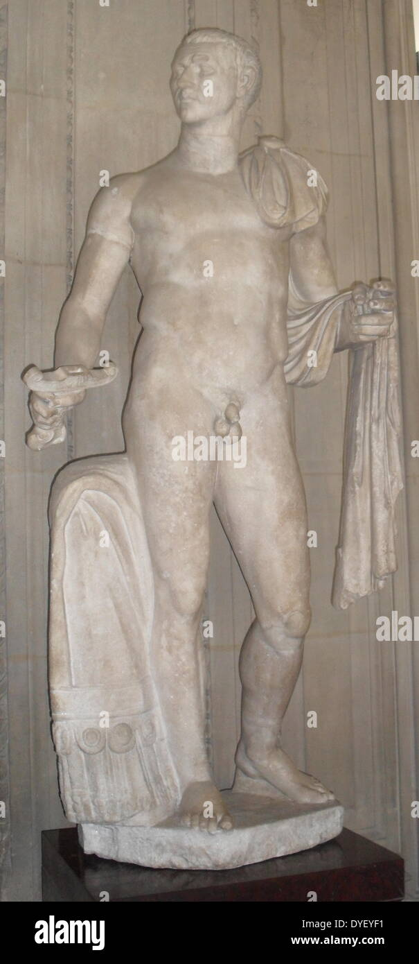 Marble sculpture of The Emperor Claudius. - Stock Image