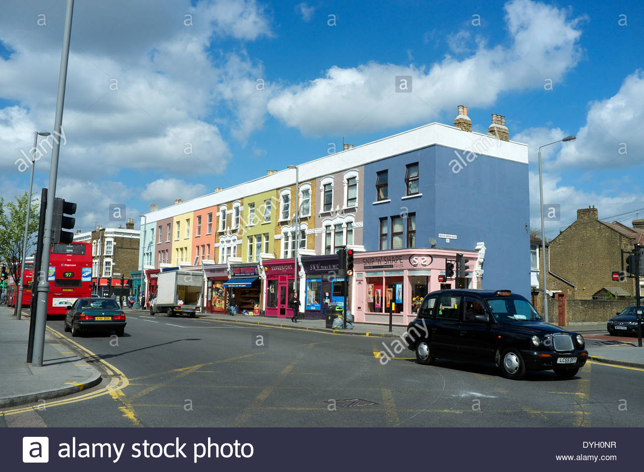 Colourful buildings in High Road Leyton, in Leyton, east London, UK. Stock Photo