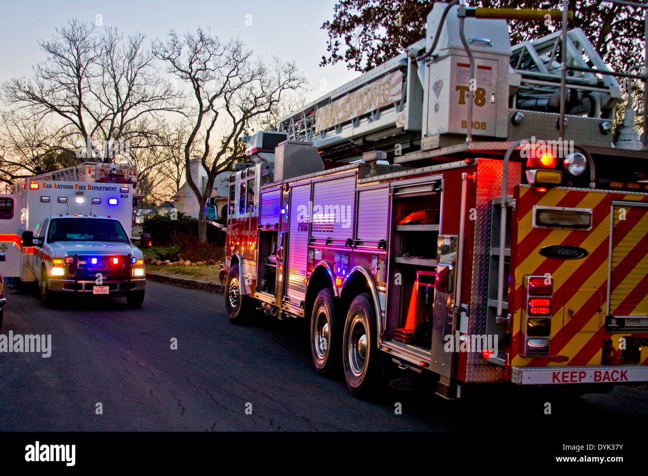 Ambulance and Fire Truck at emergency call. - Stock Image