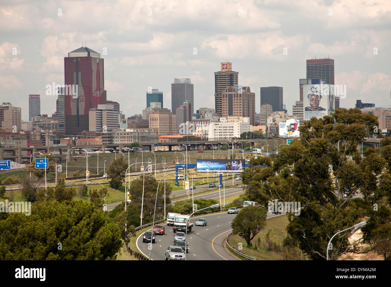 Skyline and highway, Johannesburg, Gauteng, South Africa - Stock Image