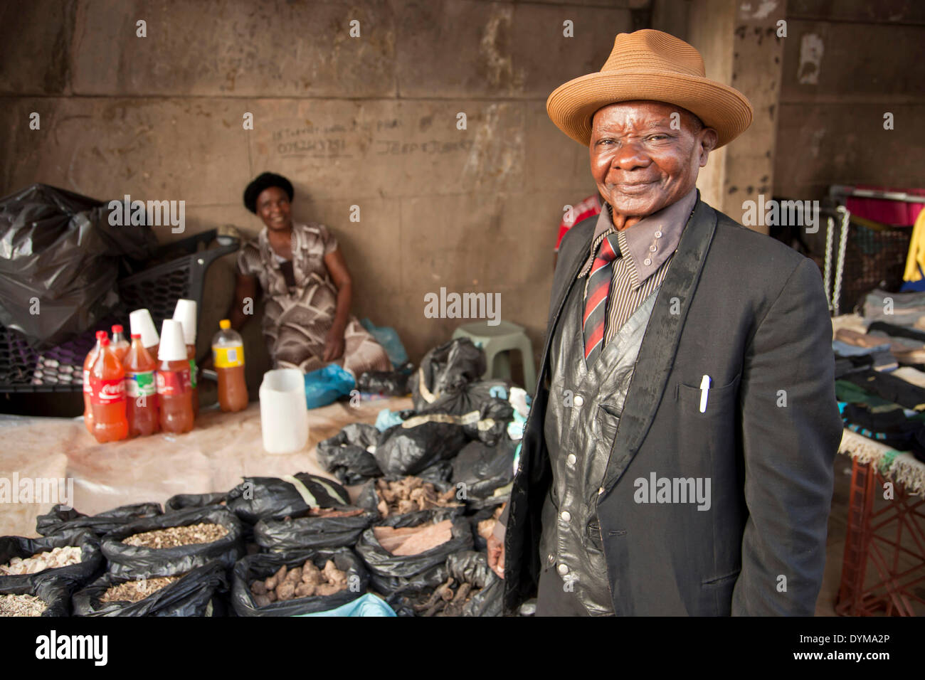 Seller at the market, Johannesburg, Gauteng, South Africa - Stock Image