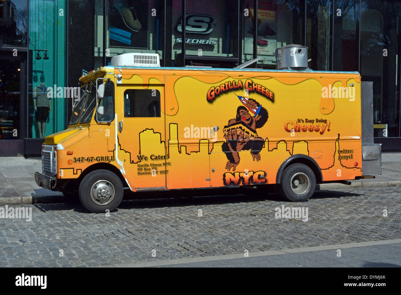 Gorilla Cheese mobile food truck on the streets of New York City near Union Square Park. - Stock Image
