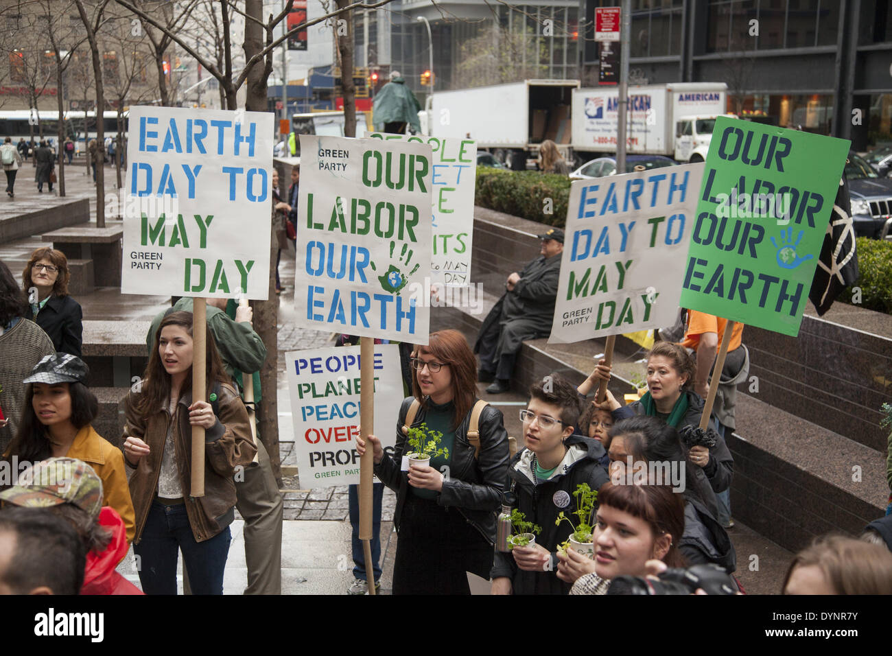 New York, NY, USA . 22nd Apr, 2014. Environmental activists rally on Earth Day at Zuccotti Park, then march to Wall - Stock Image