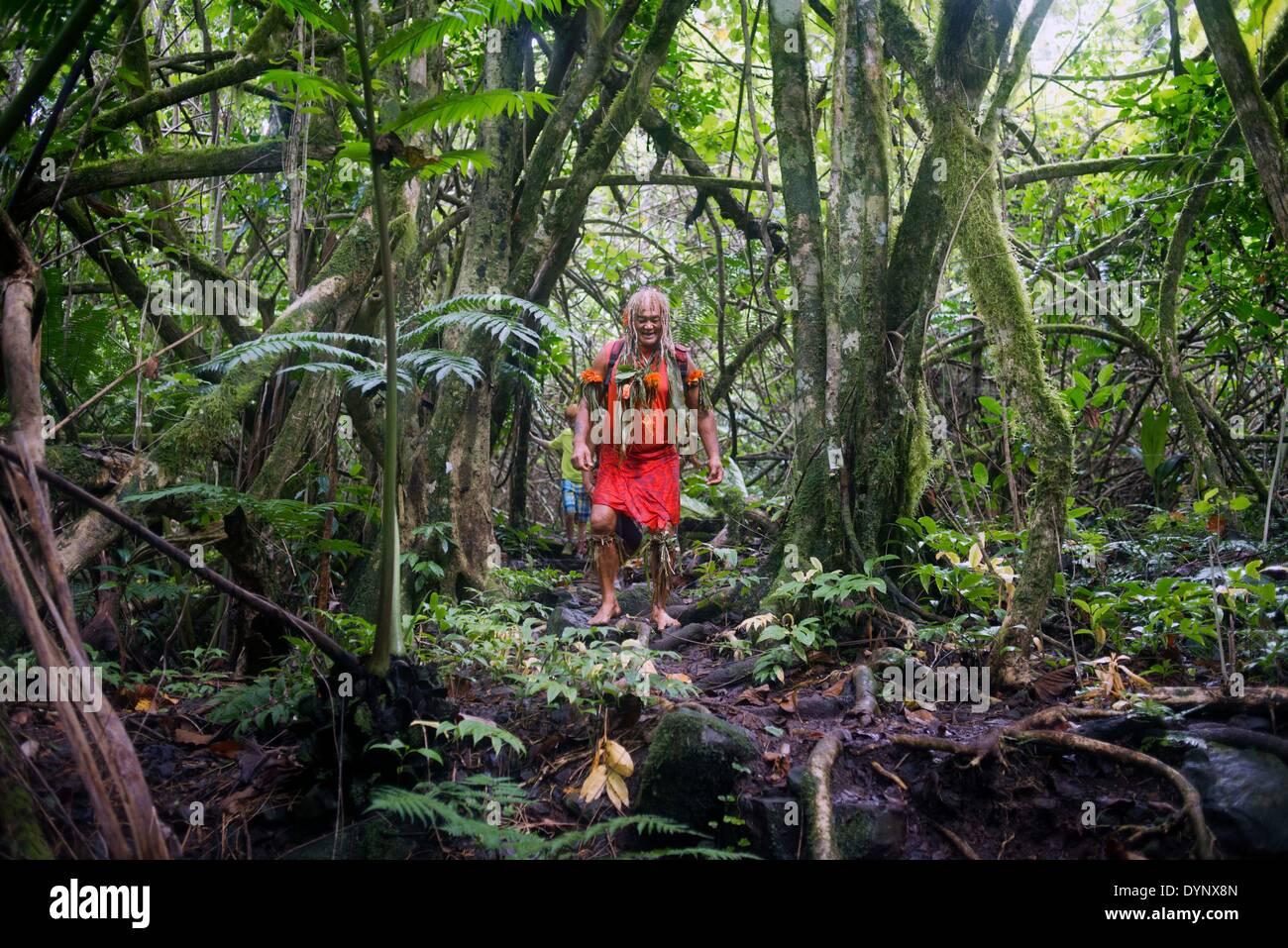 Rarotonga Island. Cook Island. Polynesia. South Pacific Ocean. Mr Pa, the most popular guide in Rarotonga. One of - Stock Image