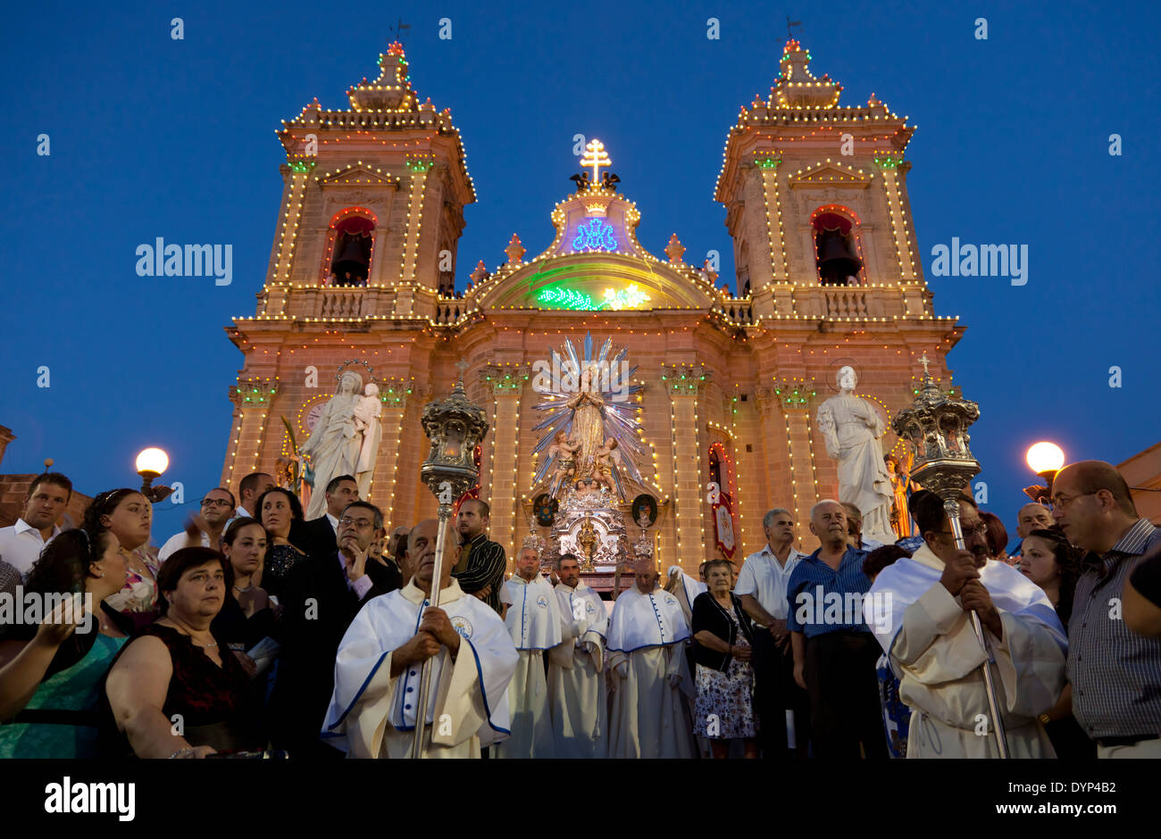 The titular statue is taken out of the church for procession during the town feast in Xaghra in Malta.Stock Photo