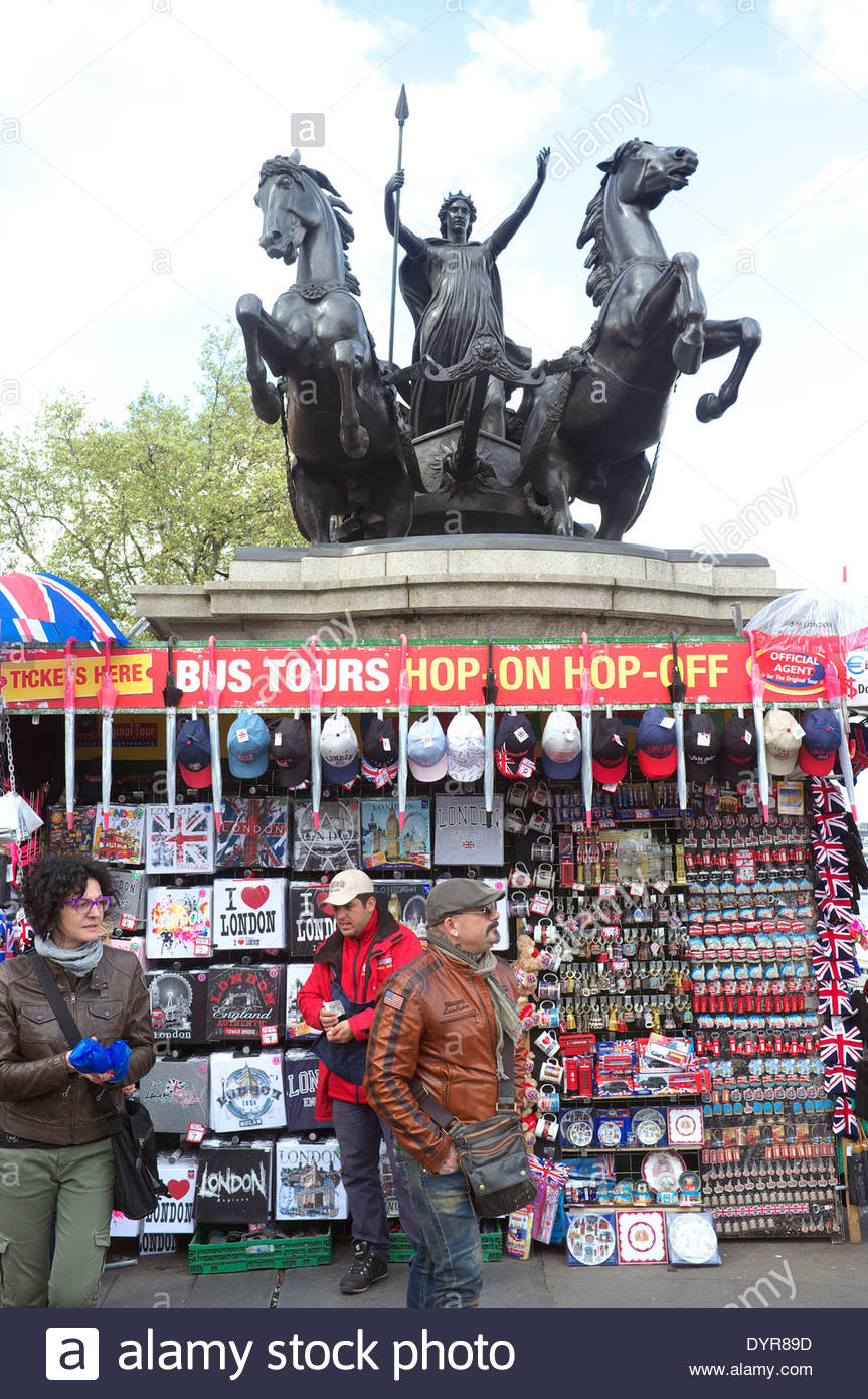 Souvenir seller's stall underneath the Boudica statue by Westminster Bridge, London, UK. Stock Photo