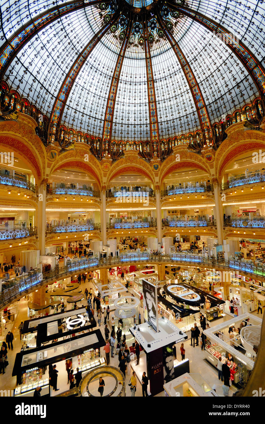 galeries lafayette shopping mall paris france stock photo