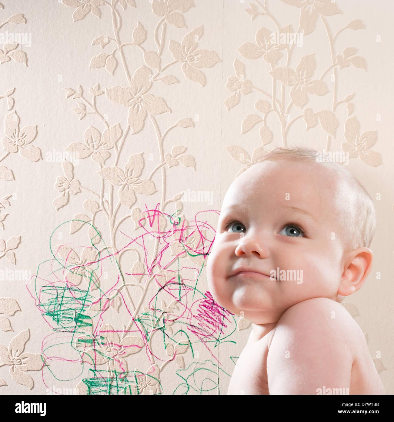 Cheeky baby - Stock Image