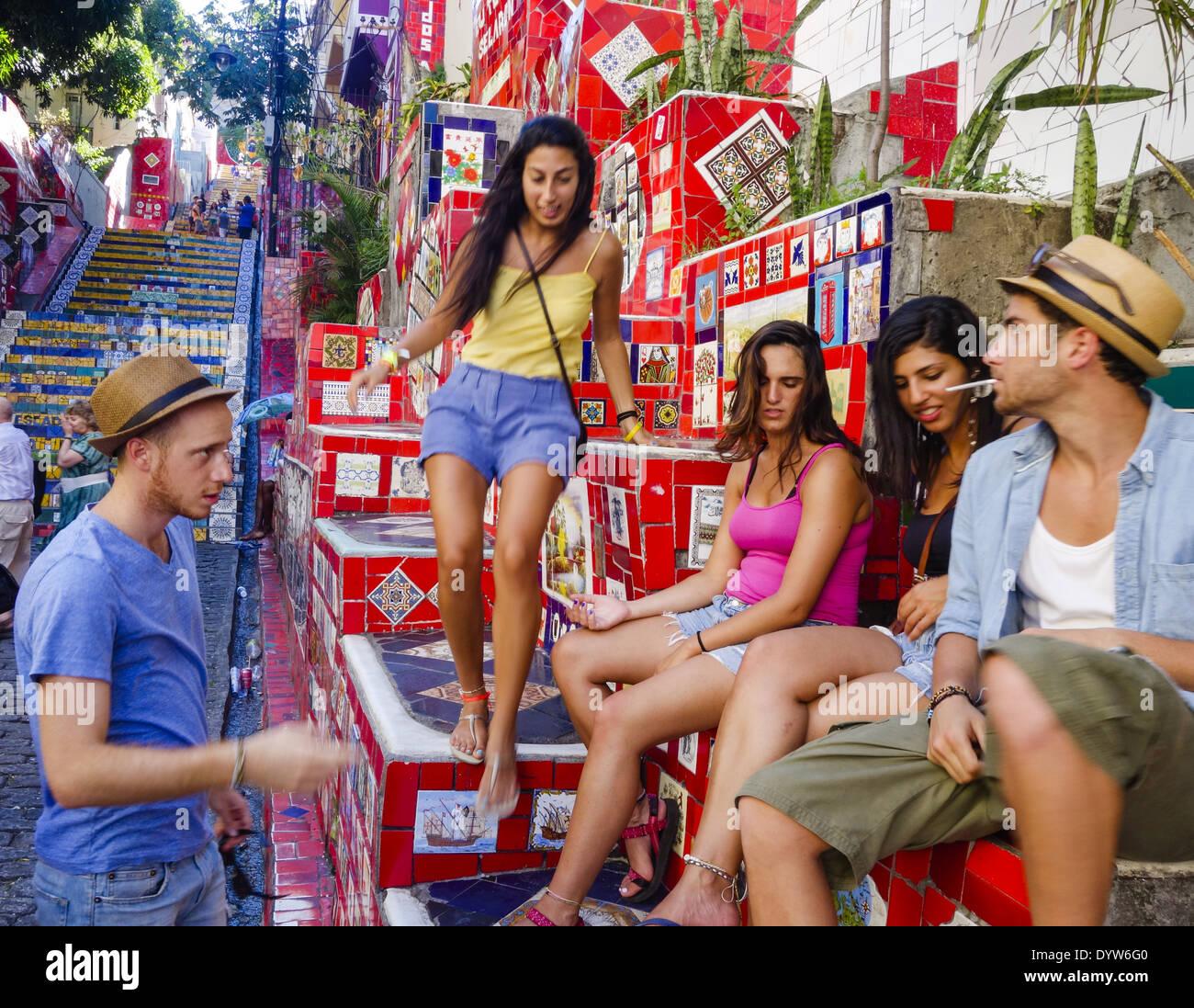 Rio de Janeiro, Santa Teresa, Lapa, Escadeira de Selaron, Escadaria, Brazil - Stock Image