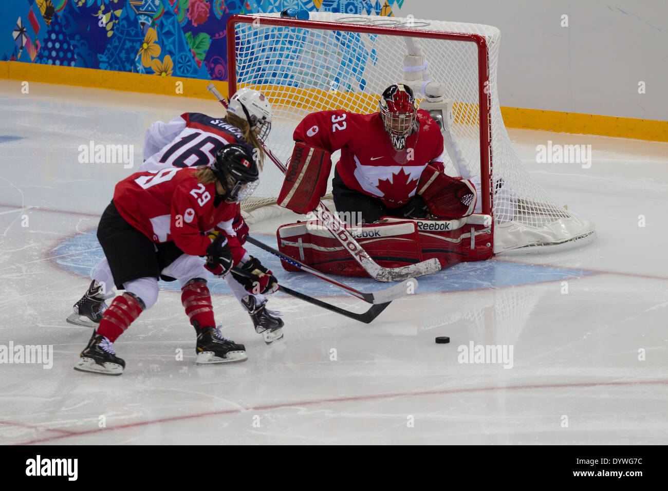 Charline Labonte Canadian goalie, USA-Canada Women's Ice Hockey at the Olympic Winter Games, Sochi 2014 - Stock Image