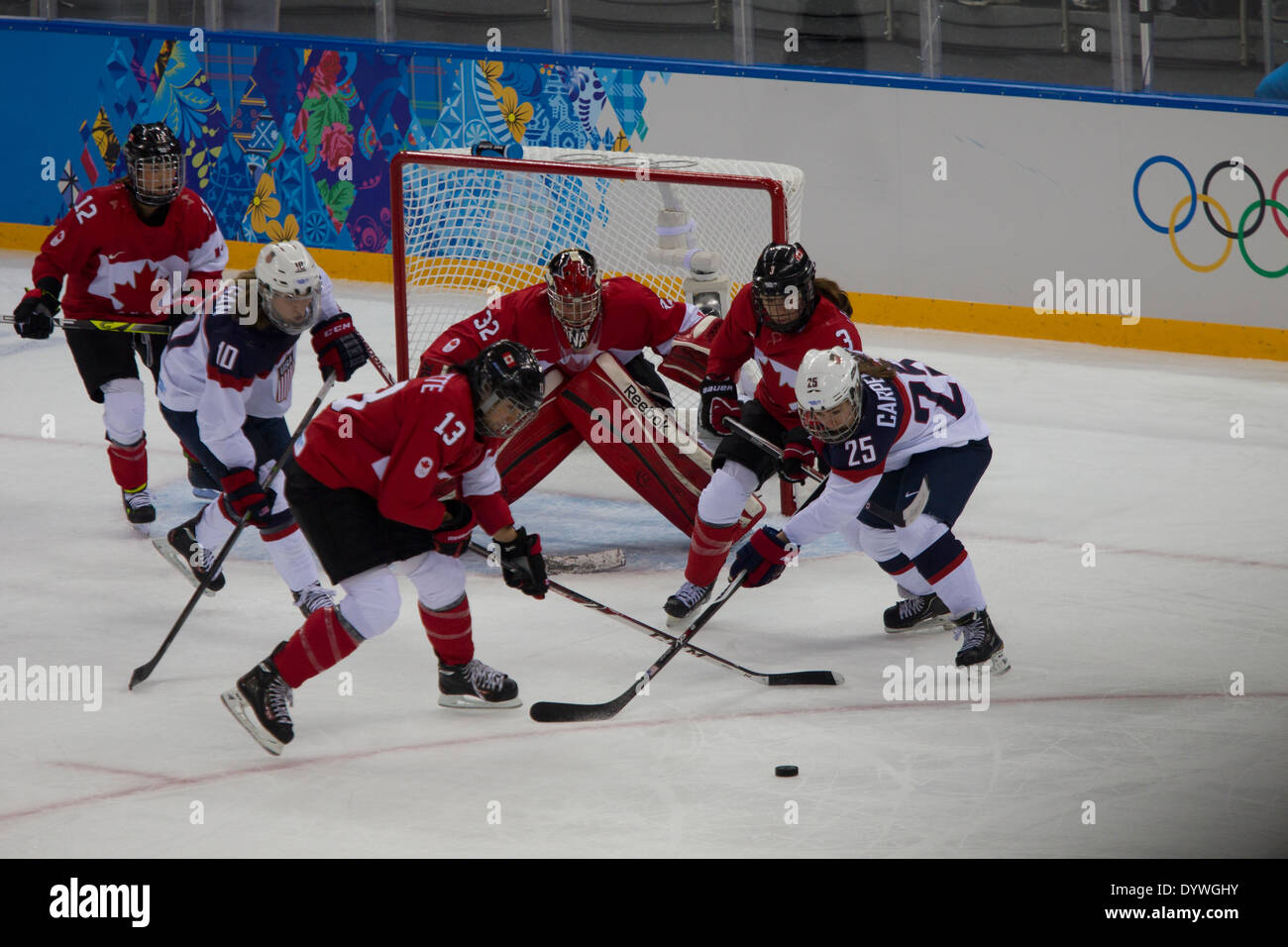 USA-Canada Women's Ice Hockey at the Olympic Winter Games, Sochi 2014 - Stock Image