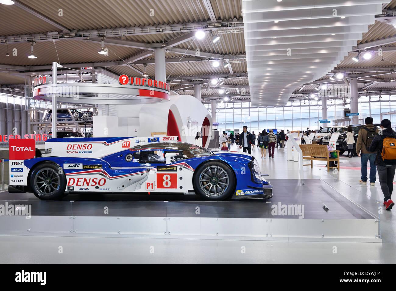 Denso Toyota Hybrid TS040 race car at Toyota Mega Web city showcase at Odaiba, Tokyo, Japan - Stock Image