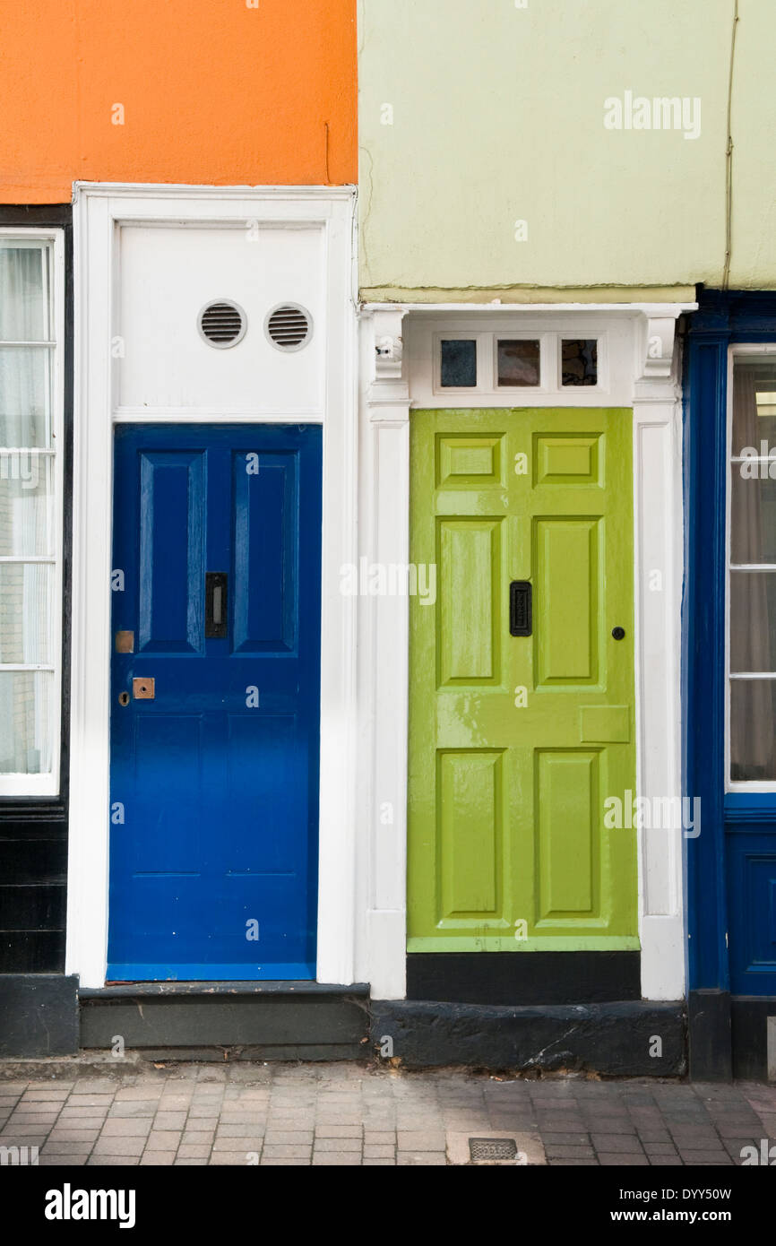 Blue And Green Painted Front Doors In Oxford England Stock Photo