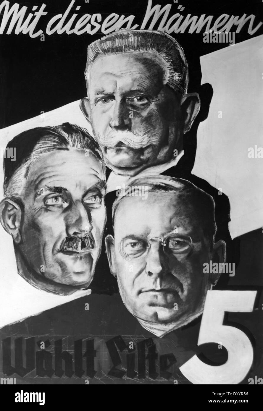 Election poster Battlefront Black-White-Red, 1933 - Stock Image