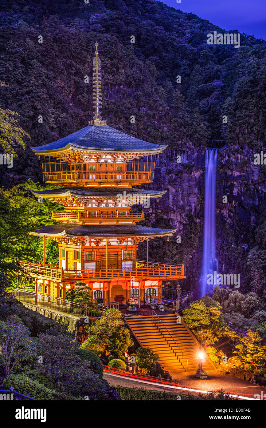 Nachi, Japan at Nachi Taisha Shrine Pagoda and waterfall. - Stock Image